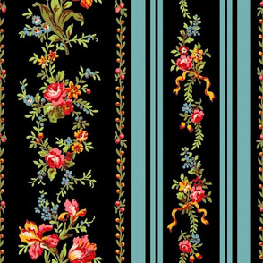 Belvedere Floral Stripe ~ Black ~ Large