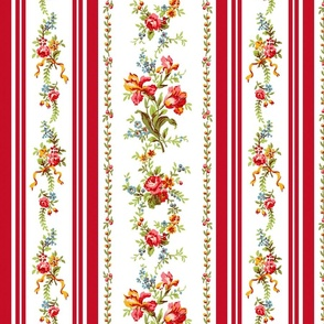 Belvedere Floral Stripe ~ Red Stripe on White