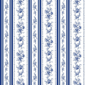 Belvedere Floral Stripe ~ Willow Ware and Blue and White
