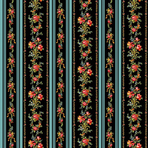 Belvedere Floral Stripe ~ Black ~ Medium