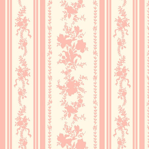Belvedere Floral Stripe ~ Cosmic Latte and Pierina