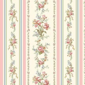 Belvedere Floral Stripe ~ Pastel on Cosmic Latte