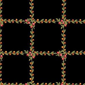 Belvedere Floral Vine Check ~ Black