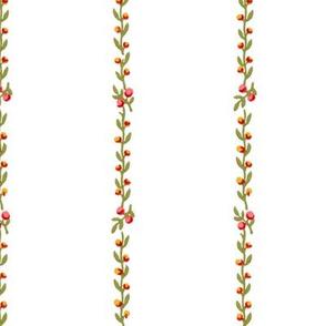 Belvedere Floral Vine Stripe  ~ White