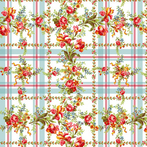 Belvedere Floral ~ Plaid on White