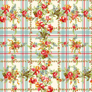 Belvedere Floral ~ Plaid on Cosmic Latte