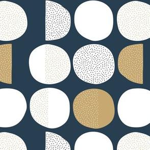 Abstract magic moon cycle phase Scandinavian minimal retro circle design gender neutral navy gold