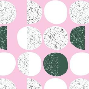 Abstract magic moon cycle phase Scandinavian minimal retro circle design pink emerald gemstone green