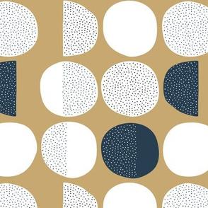 Abstract magic moon cycle phase Scandinavian minimal retro circle design gender neutral gold navy blue