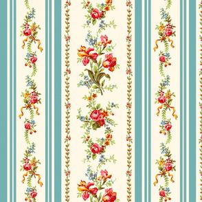 Belvedere Floral Stripe ~ Cosmic Latte