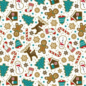 Christmas gingerbread cookies on white (small)