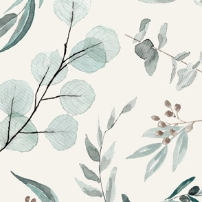 JUMBO // Eucalyptus leaves on bone background