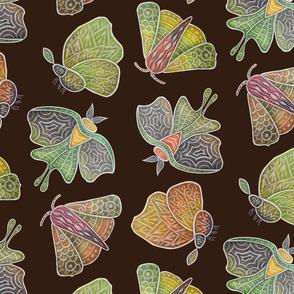 Doodle Moths, earth tones, large