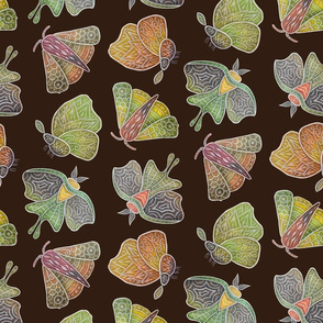 Doodle moths, earth tones, small