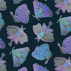 Doodle Moths, blues, large