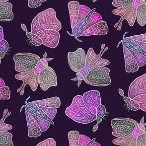 Doodle Moths, purples, large