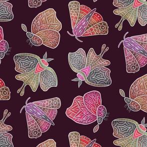 Doodle Moths, reds, large