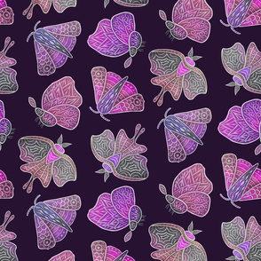 Doodle Moths, purples, small
