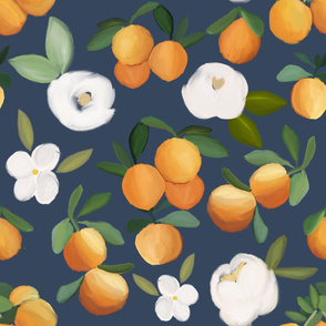 oranges and florals on navy - LARGE