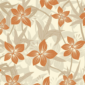 Hawaiian Asian Lily Floral - Neutral
