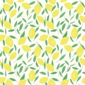 Lemon and Leaves - Smaller Repeat