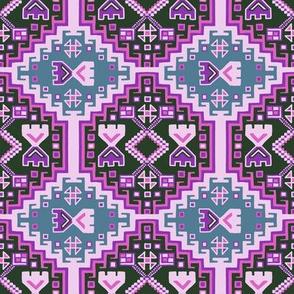 Pink Gray Black Boho Pattern
