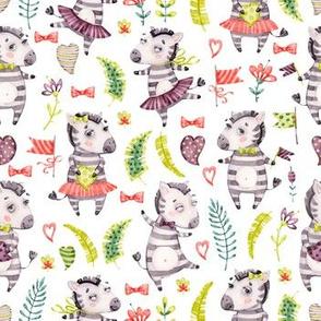 Watercolor cute nursery baby zebra friends