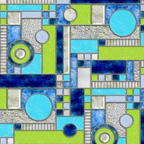 Stained Glass Window Color Blocking Blue Green