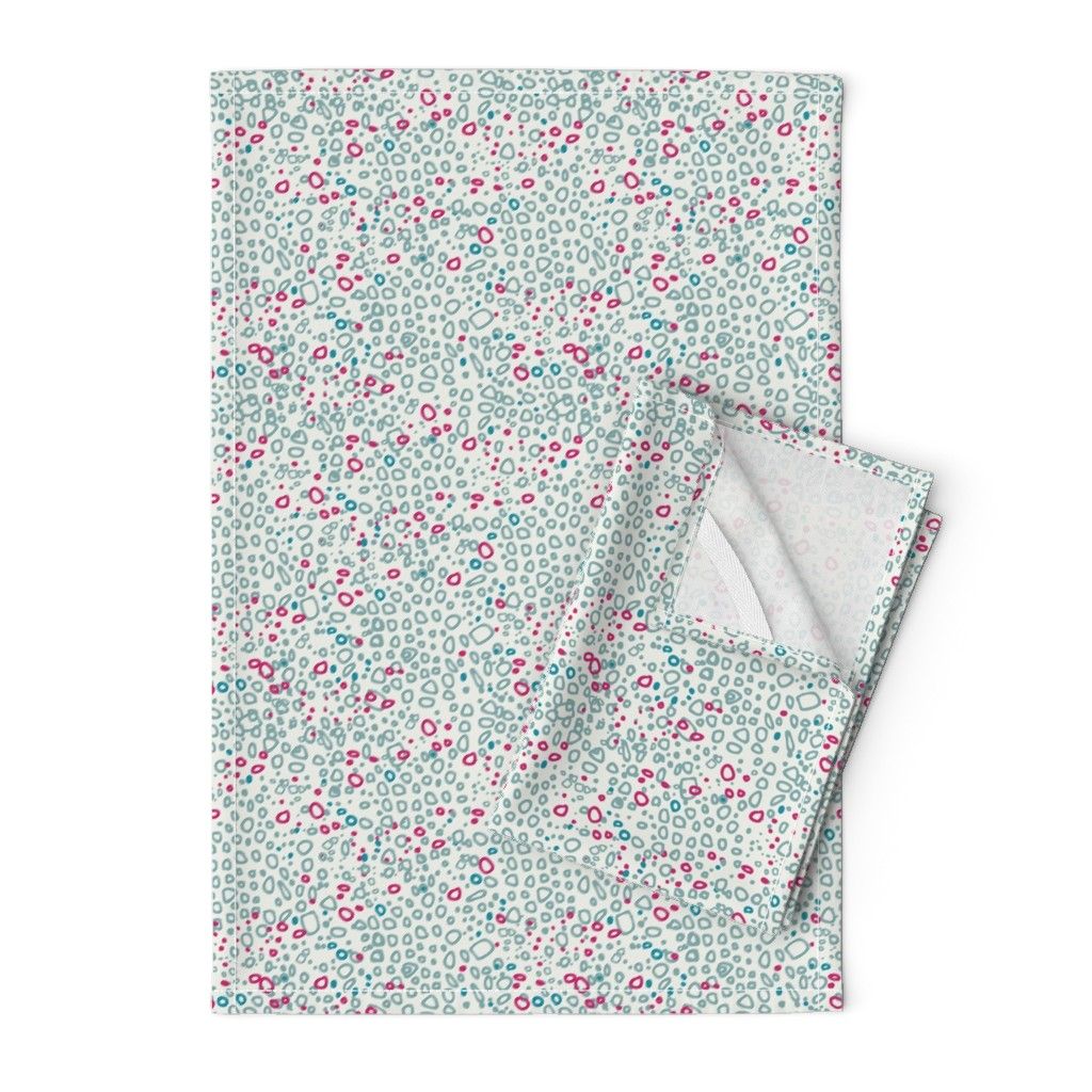 Orpington Tea Towels featuring Pebbles - pink and grey on white by cecca