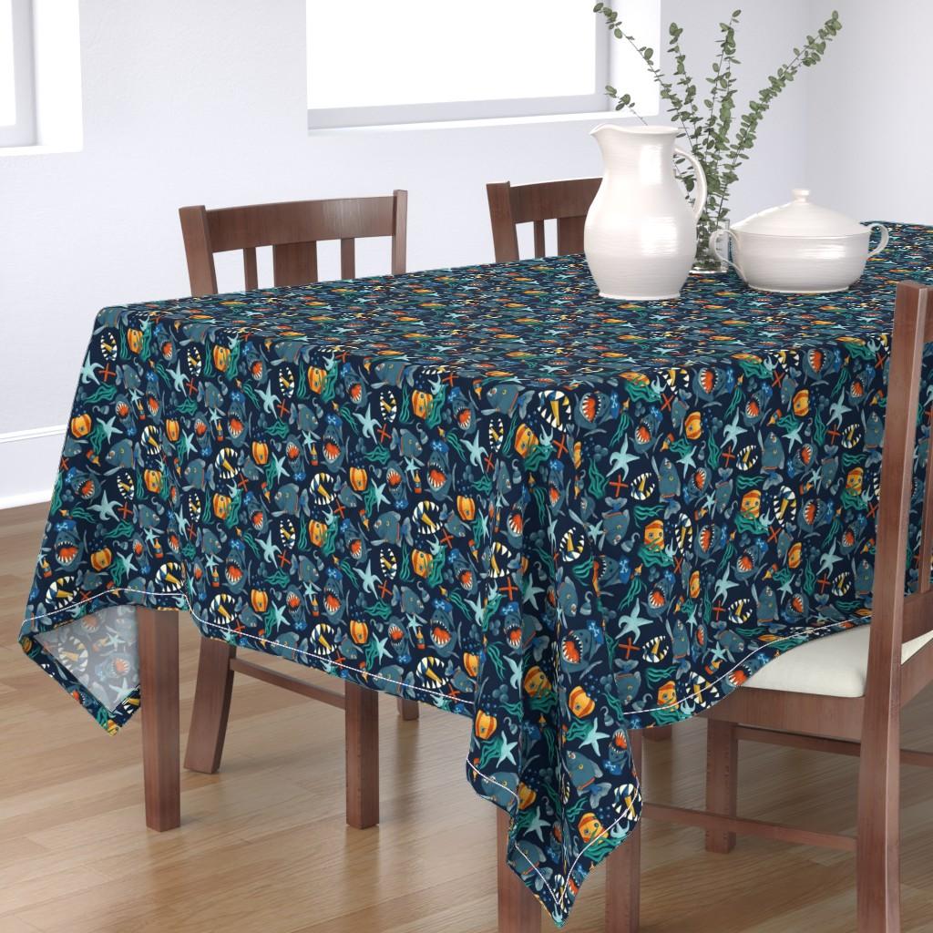 Bantam Rectangular Tablecloth featuring pirate piranhas underwater by marlenewagenhofer_art