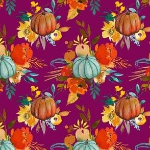 Autumn Pumpkin Floral // Mulberry (Small)