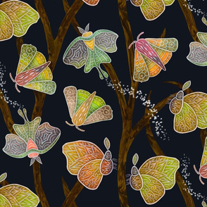 Forest Doodle Moths in earth tones--large