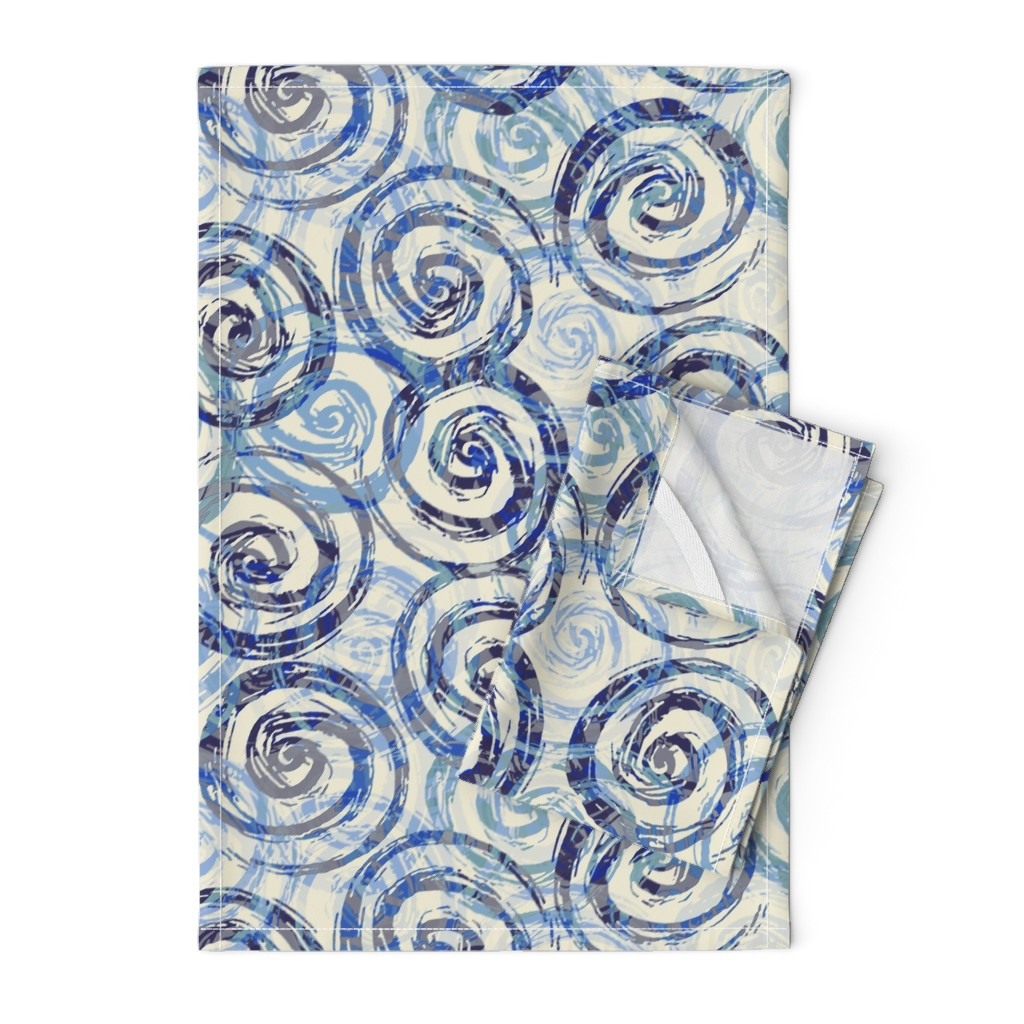 Orpington Tea Towels featuring spiral_rough_blue by wren_leyland