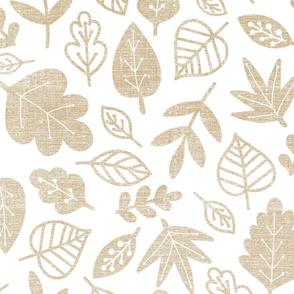 tan leaves on white