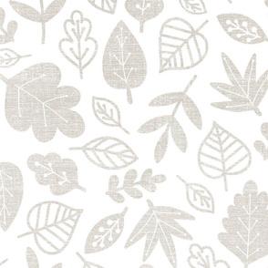 gray leaves on white