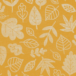 fall leaves yellow fabric