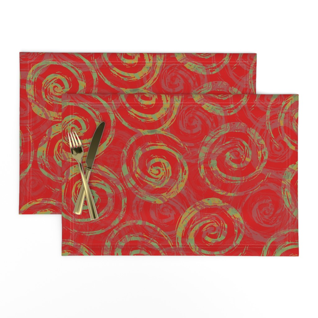 Lamona Cloth Placemats featuring spiral_rough_red_green by wren_leyland