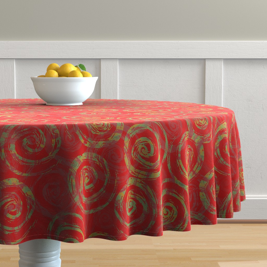 Malay Round Tablecloth featuring spiral_rough_red_green by wren_leyland