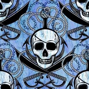 Skulls grinning at scurvy dogs