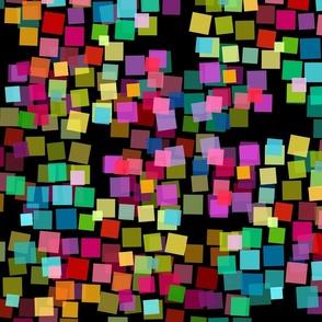 rainbow color blocks on black