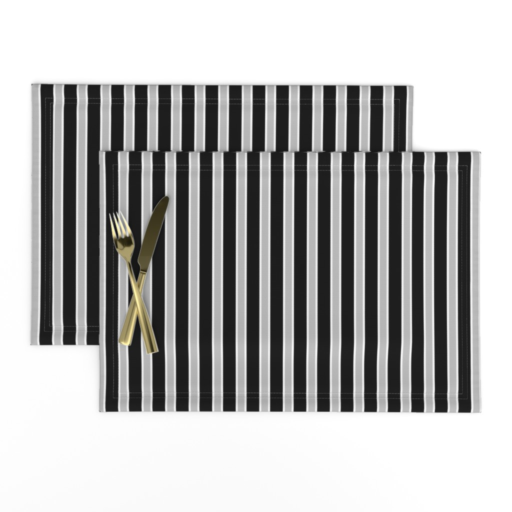 Lamona Cloth Placemats featuring Black, White and Grey Stripes by kerri_lisa_