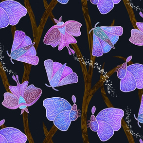 Forest Doodle Moths in purples, large