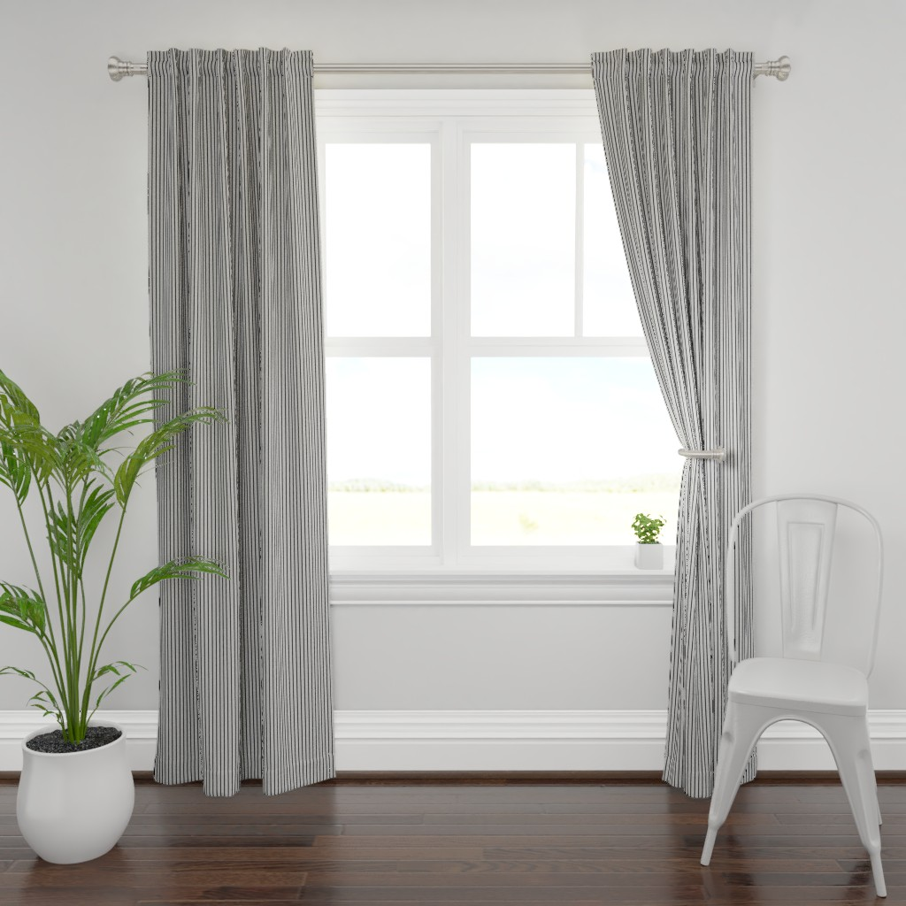 Plymouth Curtain Panel featuring Black Stripes on Grey by kerri_lisa_