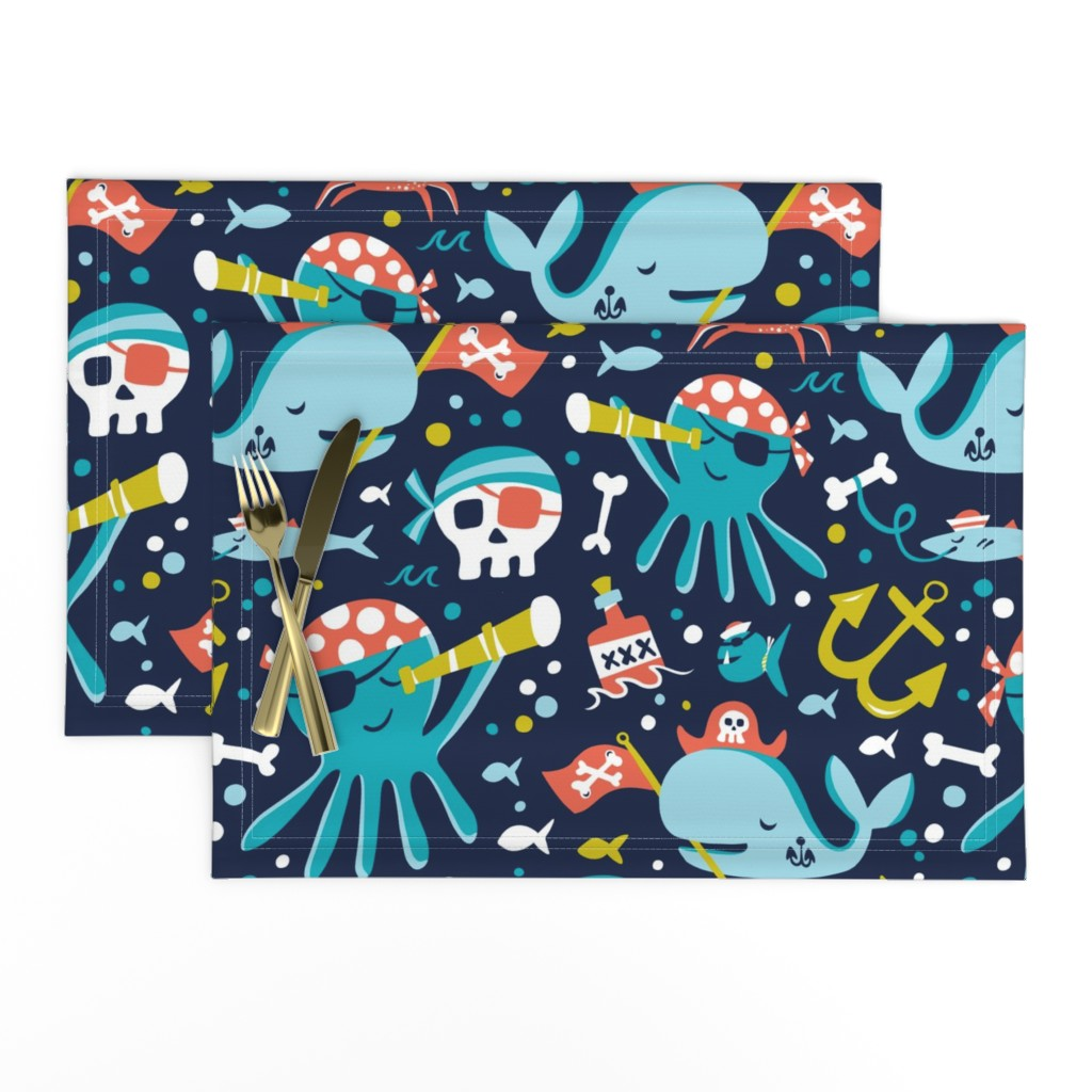 Lamona Cloth Placemats featuring Salty Sea Pirates - Nautical Navy Large Scale by heatherdutton