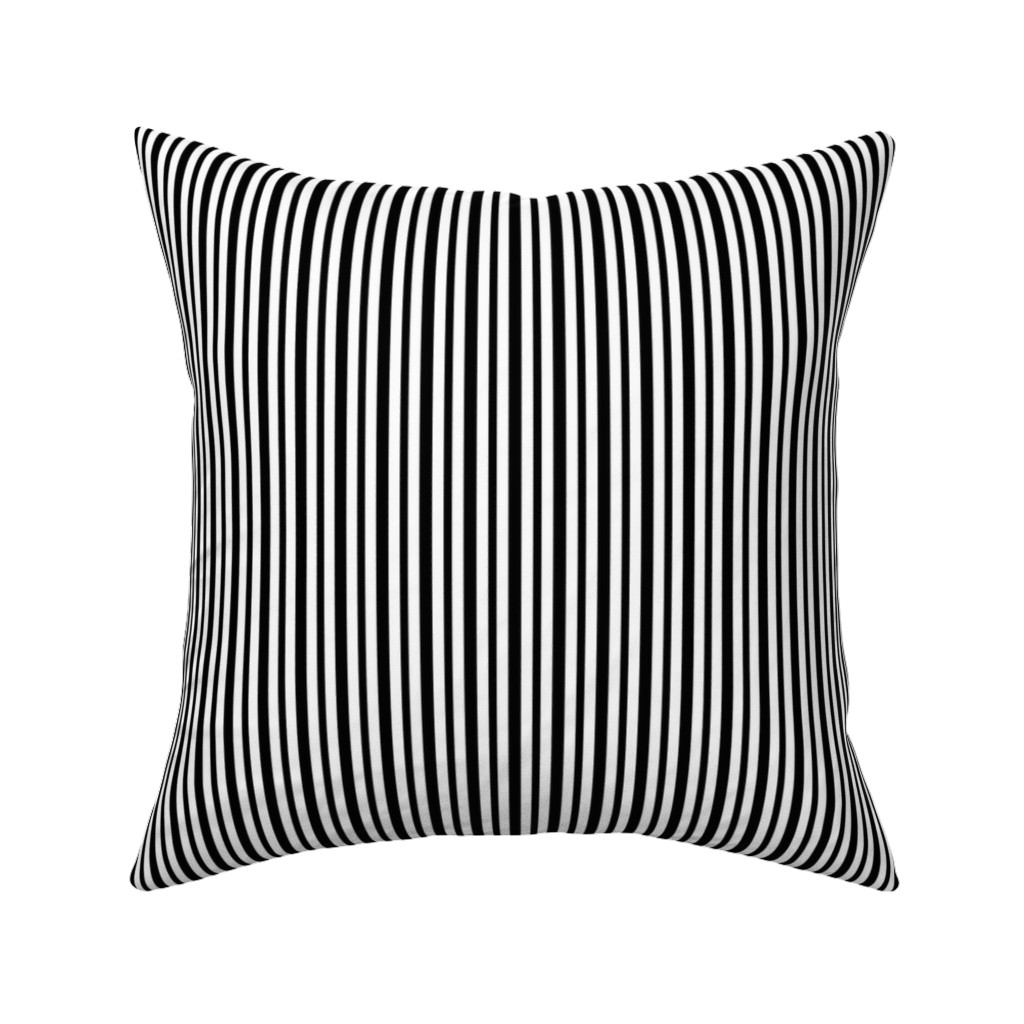 Catalan Throw Pillow featuring Black and White Small Stripes by kerri_lisa_