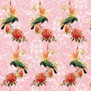 Green Parrot on Tropical Flower Pink
