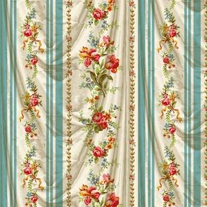 Belvedere Floral Stripe ~ Trompe l'Oeil Drapery