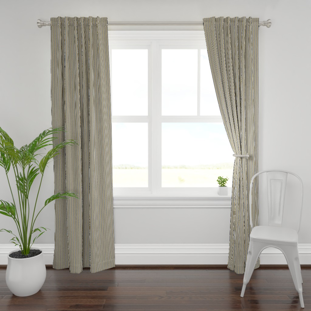 Plymouth Curtain Panel featuring Dark Olive and Black Stripes on White by kerri_lisa_