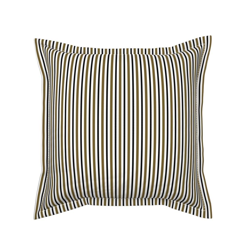 Serama Throw Pillow featuring Dark Olive and Black Stripes on White by kerri_lisa_