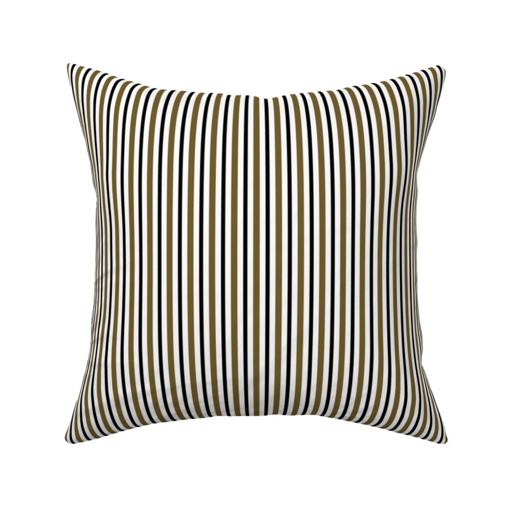 Catalan Throw Pillow featuring Dark Olive and Black Stripes on White by kerri_lisa_